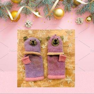 Kids Bear wool blend fingerless gloves/mittens